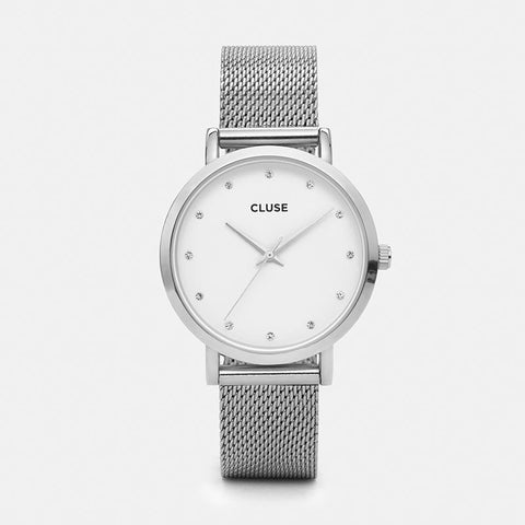 Pavane Cluse Watch | Silver Stones & Mesh Strap