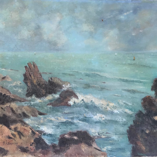 French Antique Signed Marine Scene Painting | Circa 1910