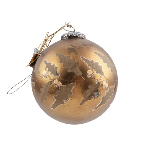Round Gold Holly Bauble | Glass
