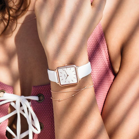 La Garconne Cluse Watch | Rose Gold & White Strap