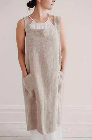 Harlow Woven Linen Cross Back Apron | Natural