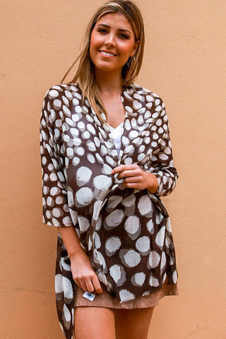 Spot Patterned Winter Scarf | Brown