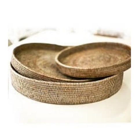 Round Rattan Tray | Antique