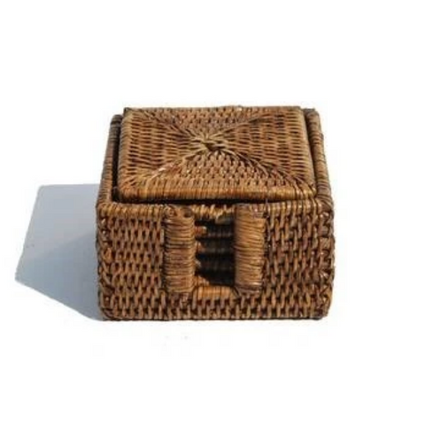Square Rattan Coasters - Set of 6  | Antique