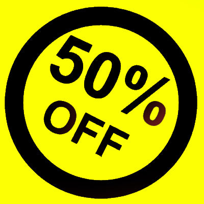 50% off in yellow and black