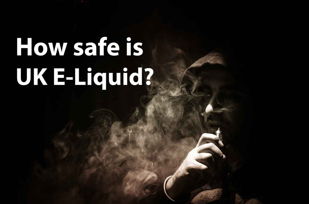 How safe is UK e-liquid with man blowing smoke while vaping