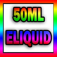 50ml eliquids in rainbow coloured letters