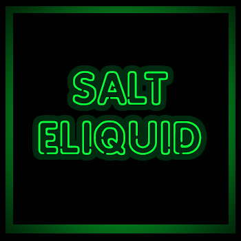 SALT E LIQUIDS TEXT IN IMAGE, GREEN NEON