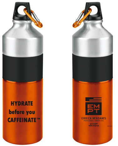 Aluminum and orange hydrate water bottle