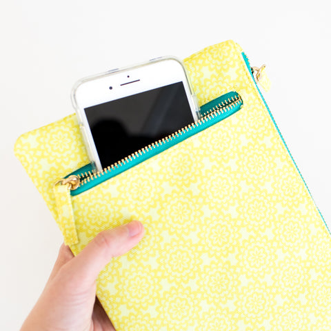 Canvas Zippered Pouch - Citron