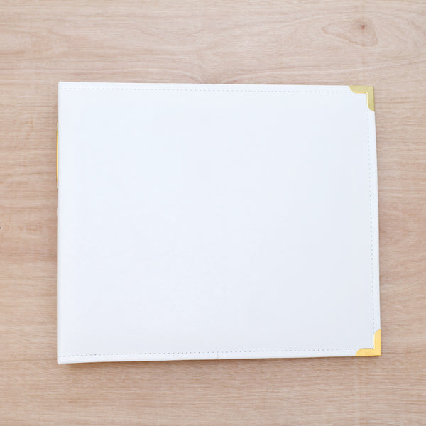White & Gold 12x12 Faux Leather Album - Pocket Scrapbooking & Memory Keeping - 1