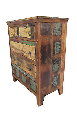 Reclaimed Teak Chest of Drawers, Four Drawers
