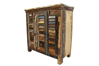 Reclaimed Teak Cupboard, Three Louvre Doors