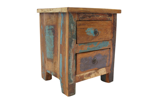 Reclaimed Teak Bedside Table, Two Drawers