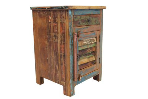 Reclaimed Teak Bedside Table, One Drawer and Louvre Door