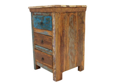Reclaimed Teak Bedside Table, Three Drawers