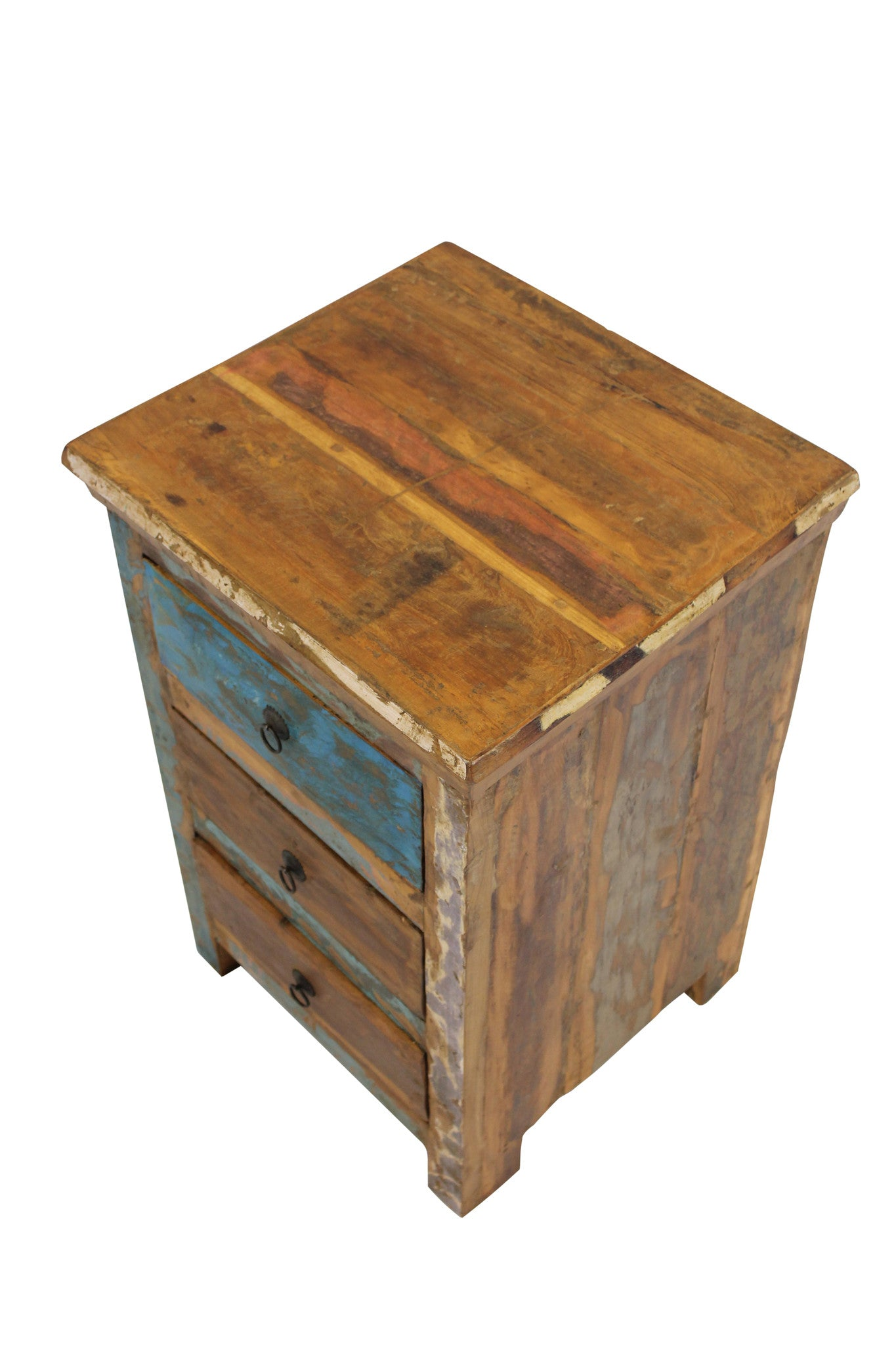 Awesome Reclaimed Teak Bedside Table, Three Drawers