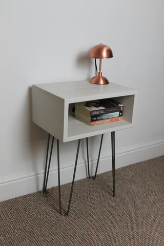 Industrial Bedside Table Painted With Hairpin Legs