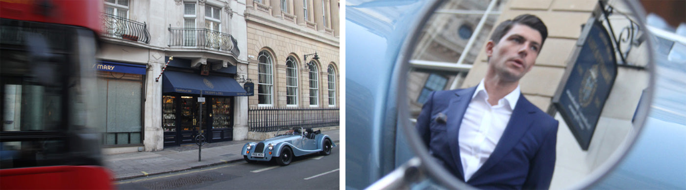 Split image. On the left is the Truefitt & Hill barbershop. On the right is the reflection of a man in a Morgan Motor's side car mirror.