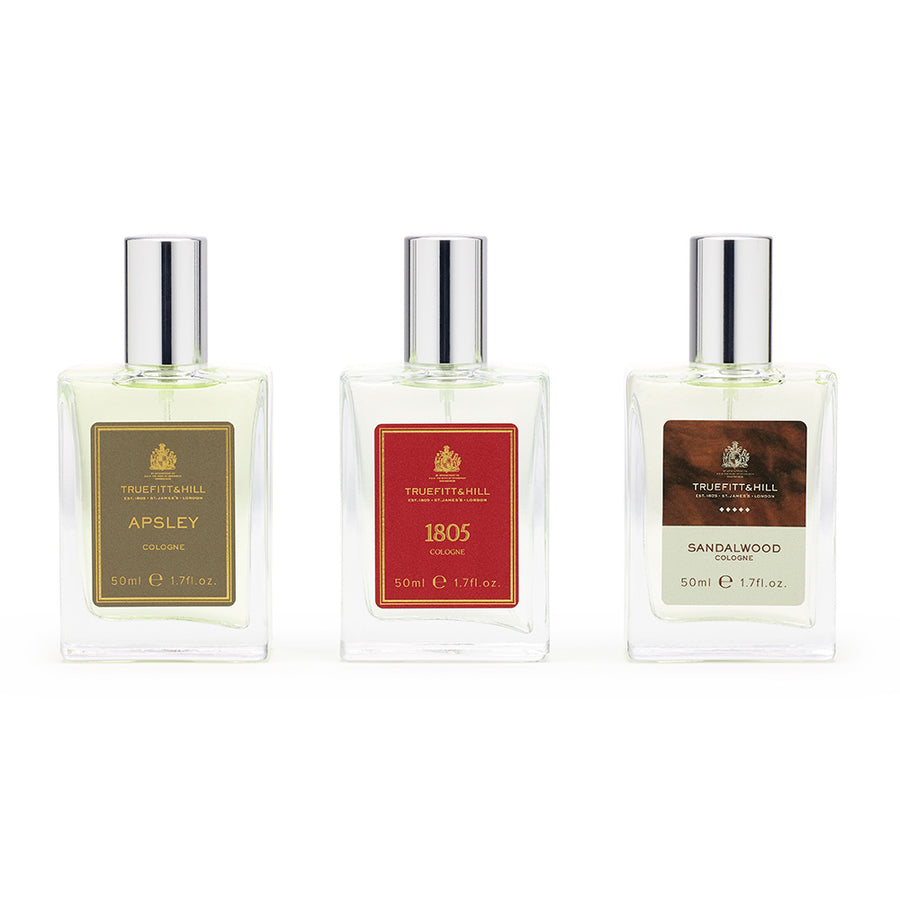 Travel Sized 50ml Cologne: 1805 or Sandalwood or Apsley Cologne  (sold individually) - Truefitt & Hill USA