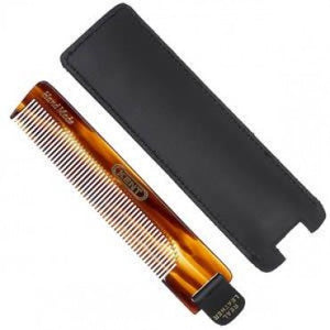 Kent Comb, Fine Tooth With Leather Tab & Case (120mm/4.7in) - Truefitt & Hill USA