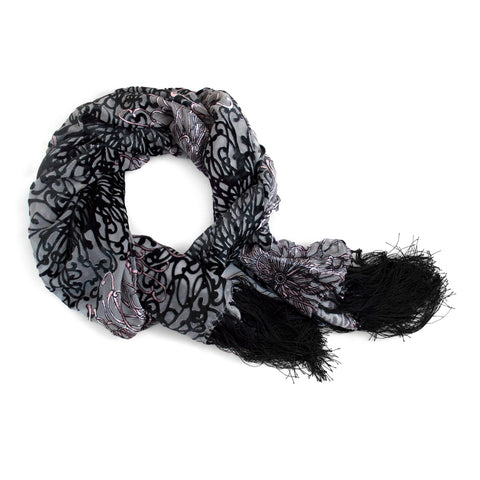 Black and Gray Velvet Scarf
