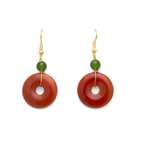 Carnelian Disc Earrings