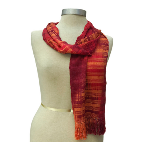 Handwoven, Hand-dyed Scarf by Hetty Friedman - Sunset