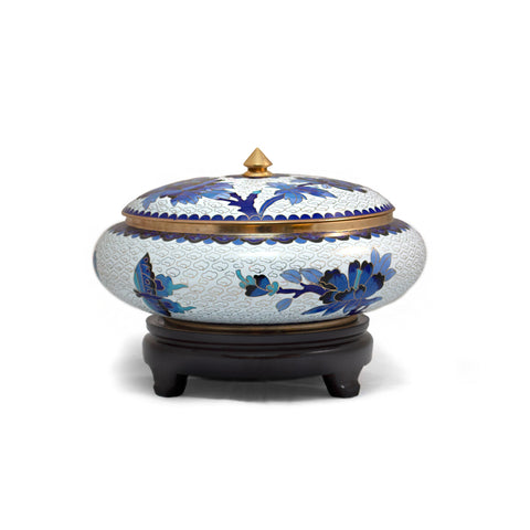 Blue and White Floral Cloisonne Covered Bowl