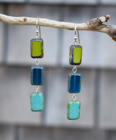 Glass Tile Earrings, Sterling Silver in Tide Pool Mix Colors - Stefanie Wolf