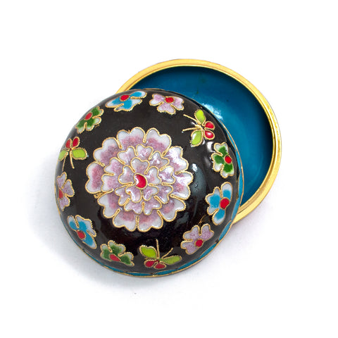 Black Cloisonne Covered Dish