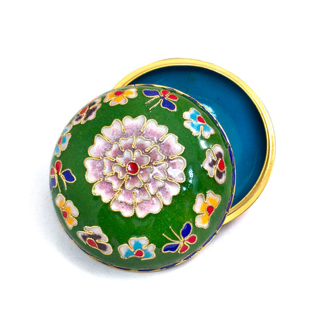 Green Cloisonne Covered Dish