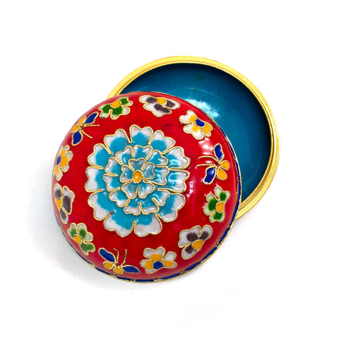 Red Cloisonne Covered Dish