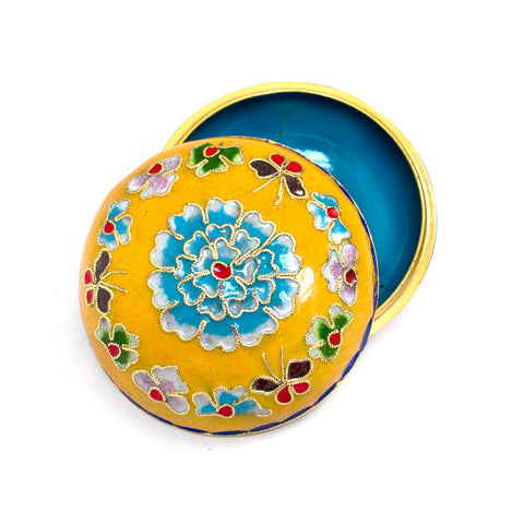 Yellow Cloisonne Covered Dish