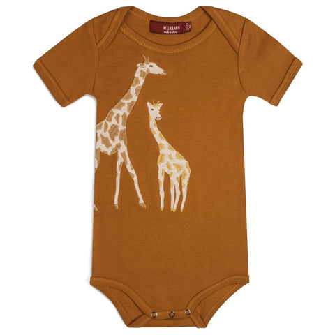 Orange Giraffe Appliqué- Baby One Piece
