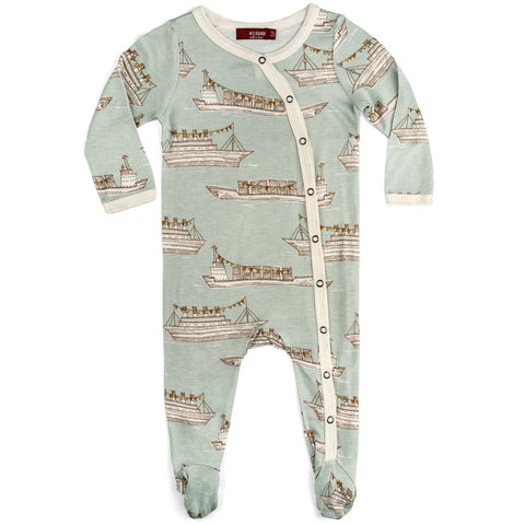 Blue Ships- Baby Footed Romper