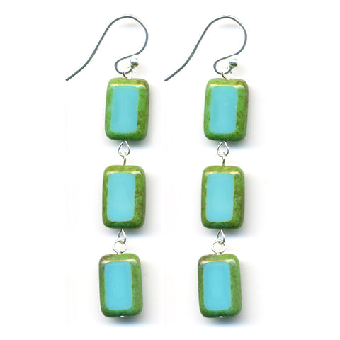 Glass Tile Earrings in Turquoise - Stefanie Wolf