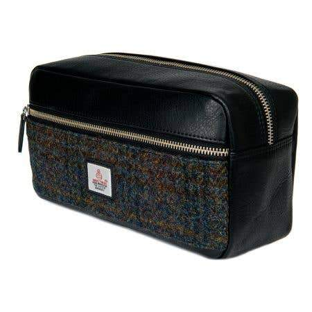 Harris Tweed Dopp Kit Wash Bag - Dark Sage