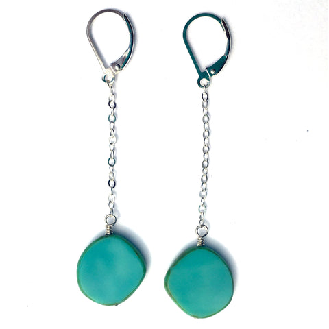 Glass Pendulum Earrings in Turquoise - Stefanie Wolf