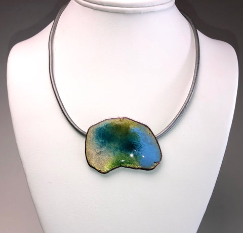Abstract Enameled Necklace - Medium Single Pendant
