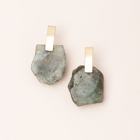 Stone Slice Earrings - Labradorite