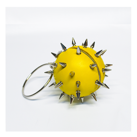PEM x Maya Luz: Limited Edition Spiked Wristlet Handbag in Chartreuse