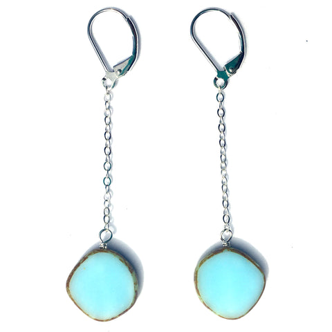 Glass Pendulum Earrings in Light Sky - Stefanie Wolf