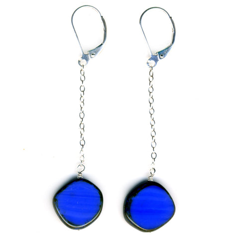 Glass Pendulum Earrings in Periwinkle Blue - Stefanie Wolf
