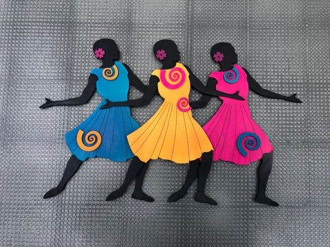 Three Figure Trio - Hand-Painted Wood Cut by Louise's Daughter