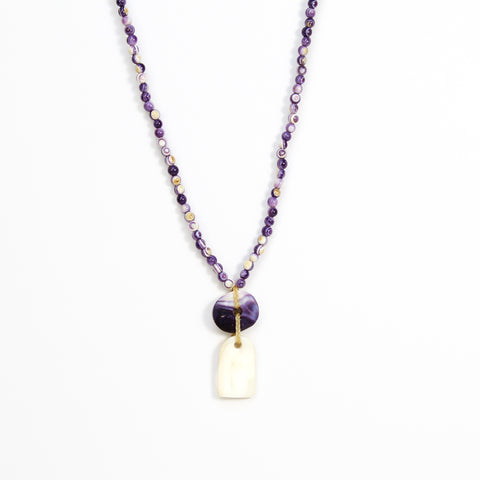 Wampum Disc Pendant Necklace by Elizabeth James-Perry