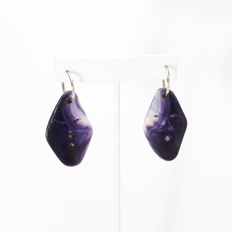 Wampum Moon Face Earrings by Elizabeth James-Perry