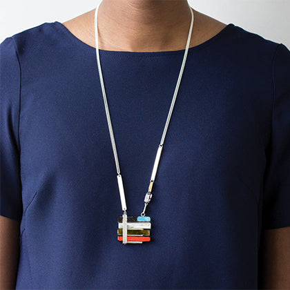 Colored Glass Pendant Necklace