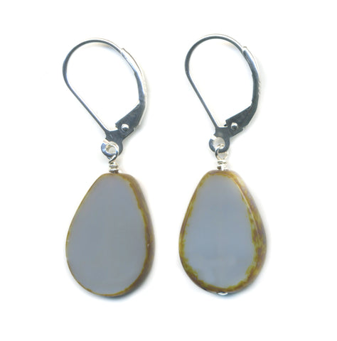 Glass Tear Drop Earrings in Grey- Stefanie Wolf