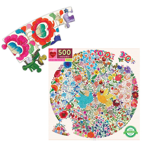 Embroidered Birds Collage - 500 Piece Round Puzzle